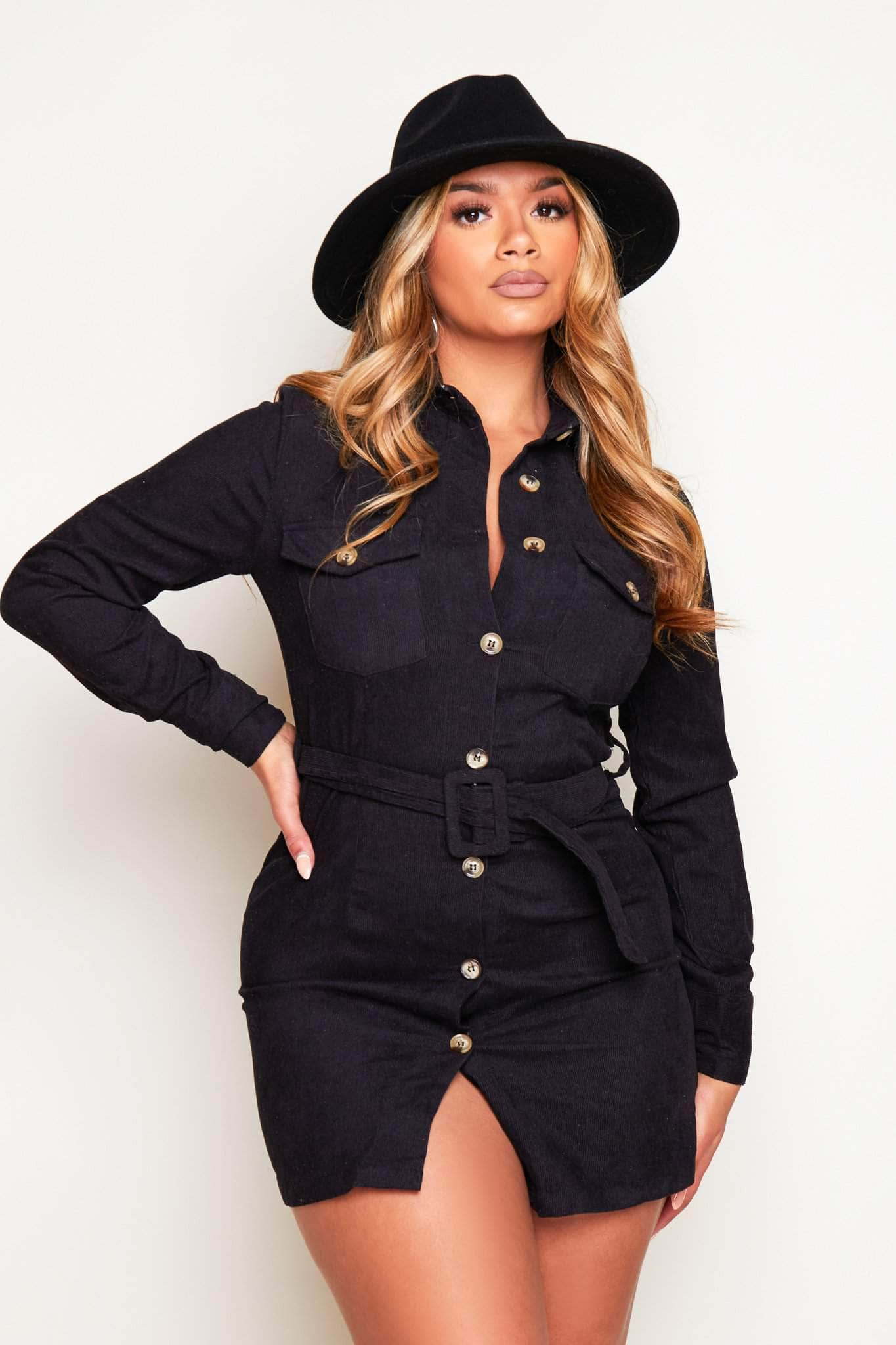 Black Cord Belted Shirt Dress