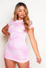 Pink Tie Dye Ribbed Ruched Mini Dress