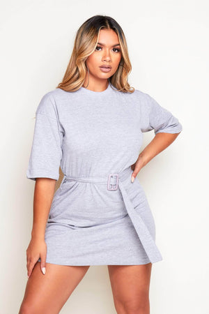 Grey Marl Belted T.Shirt Dress