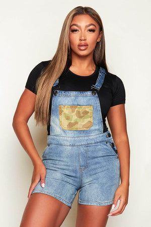 Mid Wash Denim Dungaree with Patch Pocket