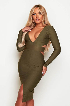 Khaki V Neck Cut Out Bodycon Midi Dress