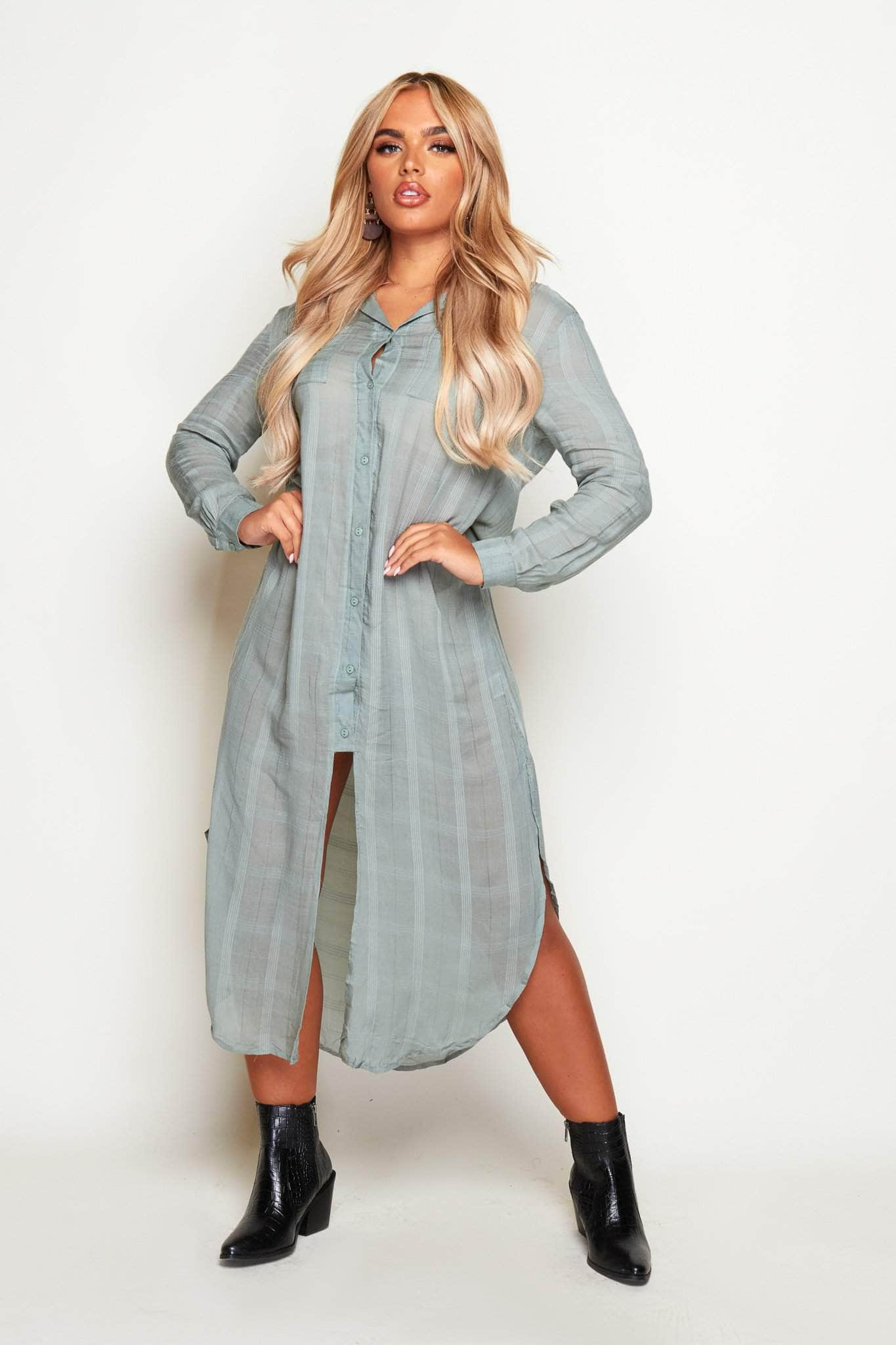 Sage Green Maxi Shirt Dress