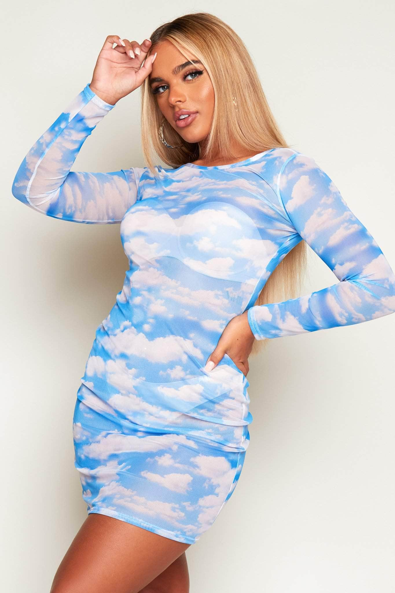 Blue Clouds Mesh Bodycon Sheer Dress