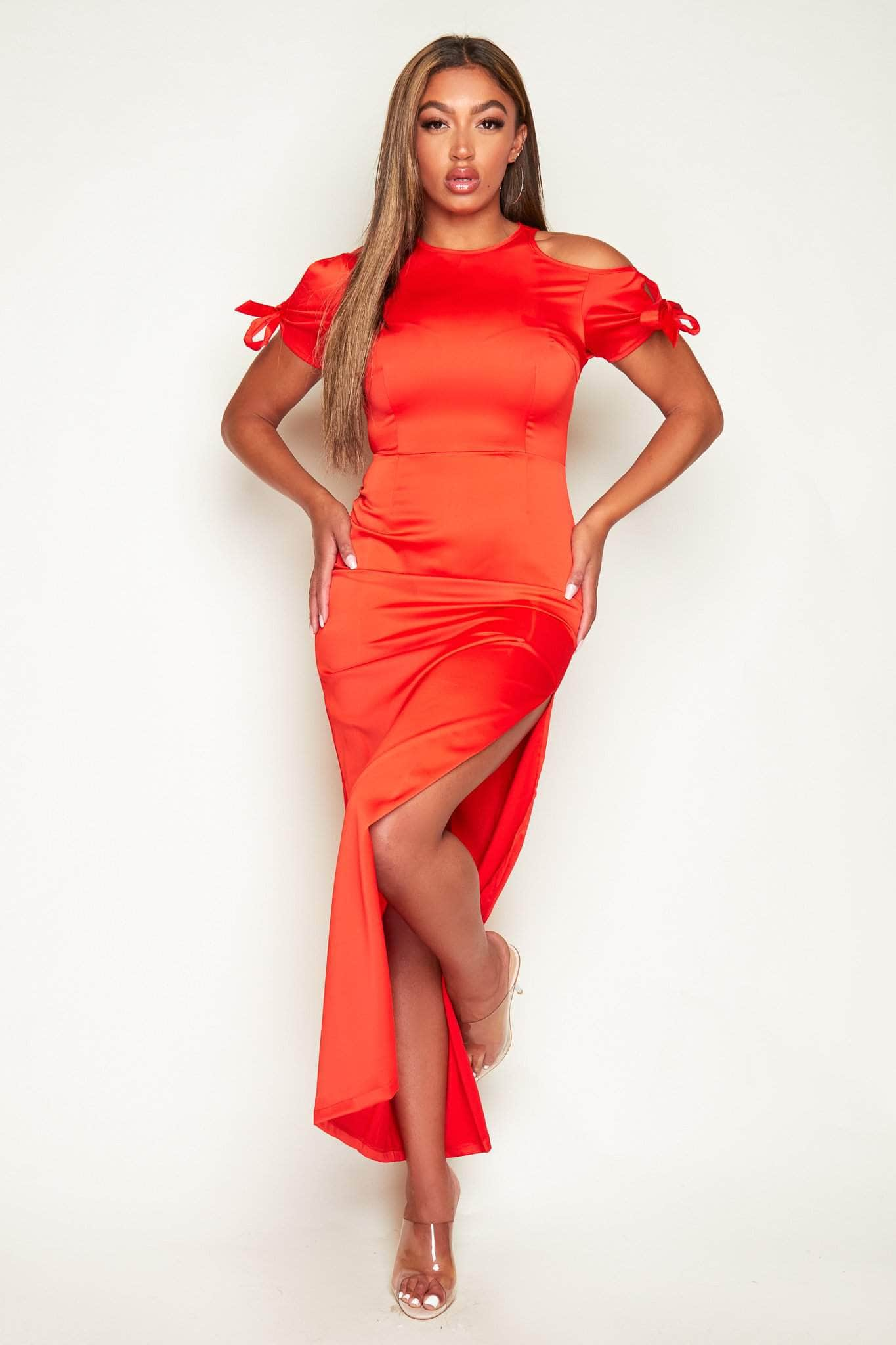 Red Satin One Shoulder Cut Out Maxi Dress