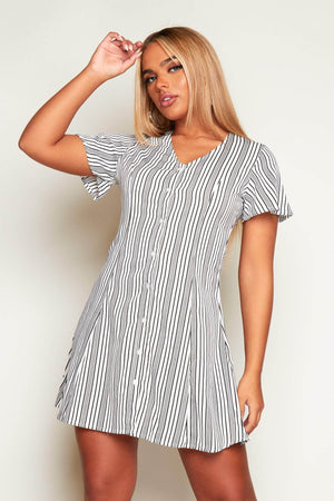 Black & White Stripe Buttoned Shift Dress