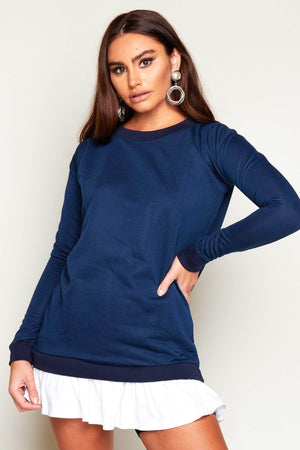 Navy Sweater Dress with Poplin Frill