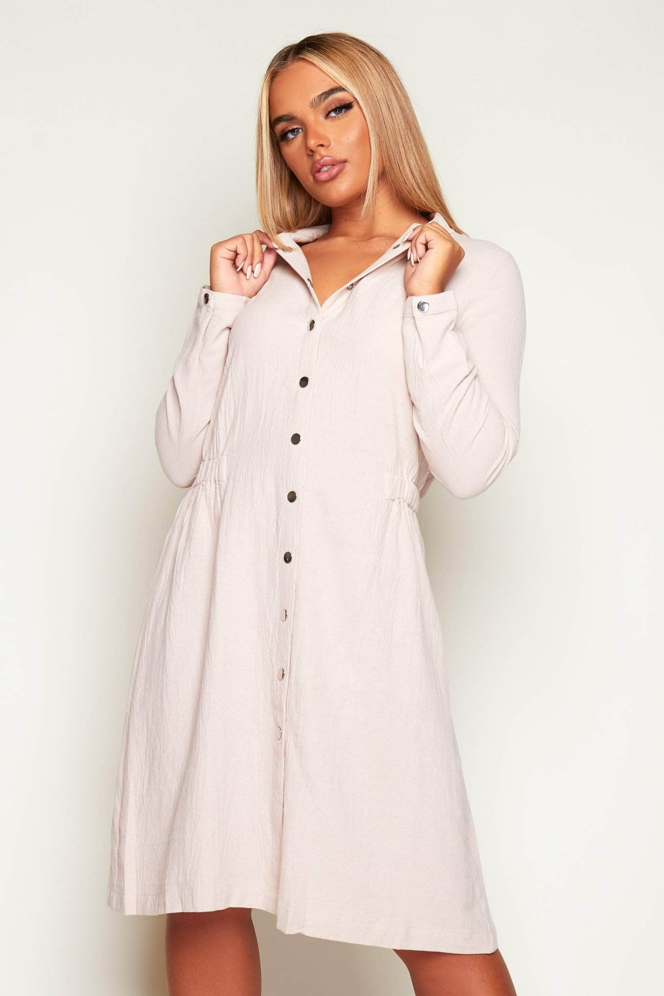 Nude 100% Cotton Popper Shift Dress