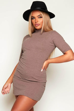Grey Ribbed High Neck Bodycon Dress