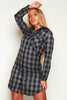 Grey Check Mini Shirt Dress