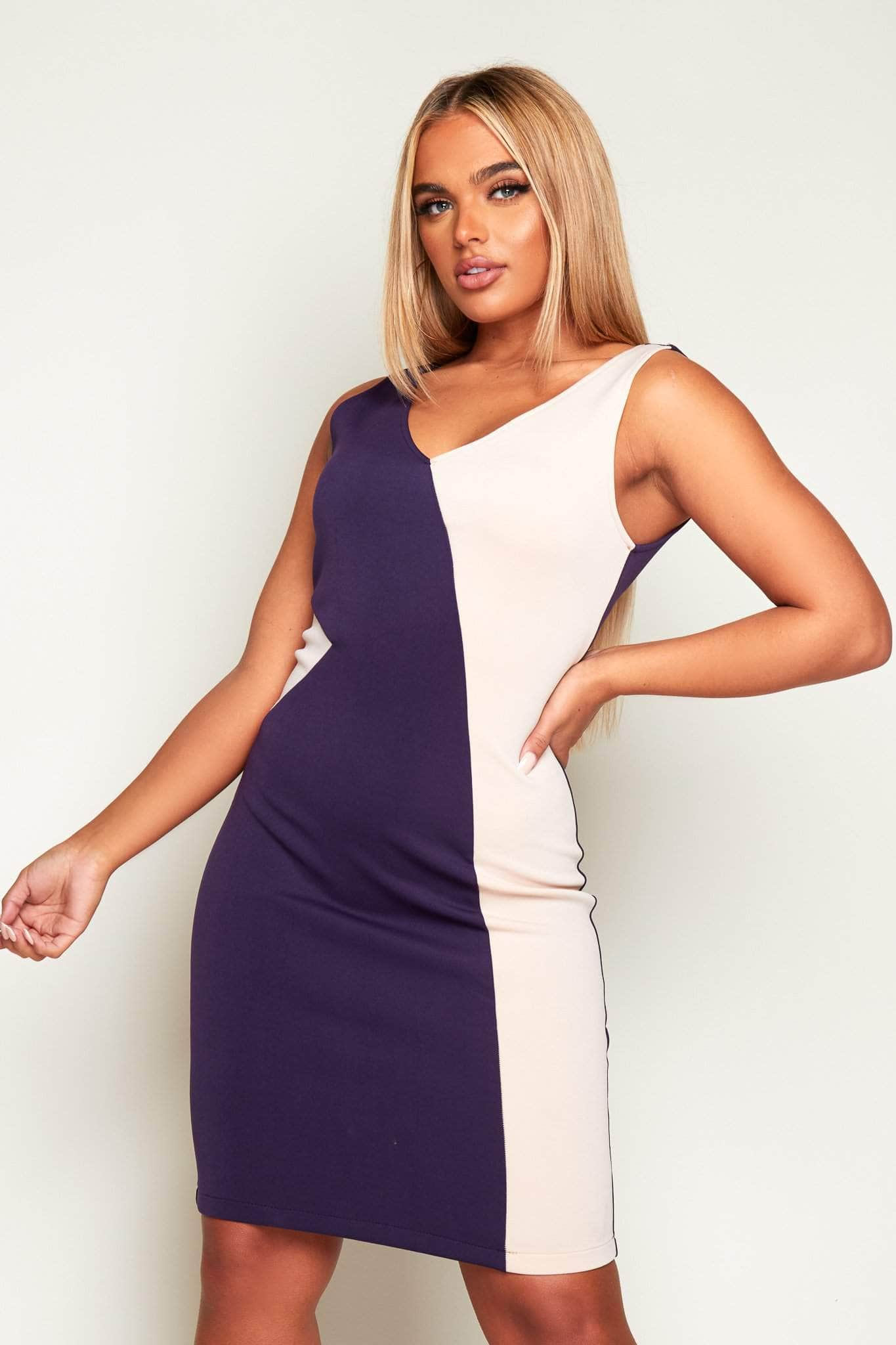 Blue & Nude Neoprene Contrast Bodycon Dress