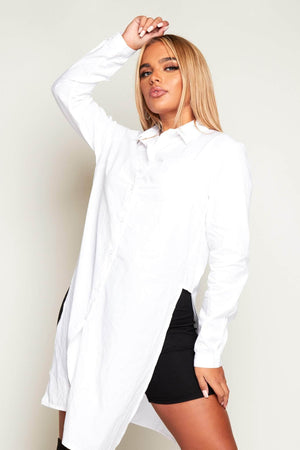 White Oversize Shirt with Splits