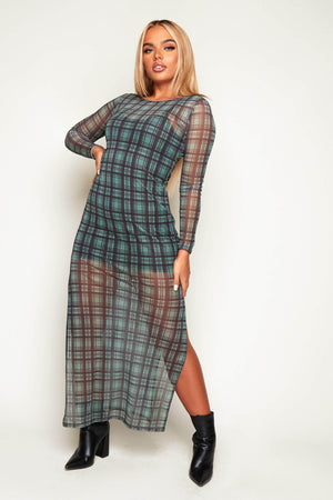 Green Check Mesh Maxi Bodycon Dress