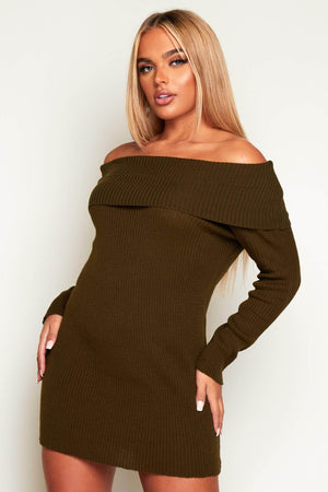 Khaki Ribbed Bardot Jumper Dress