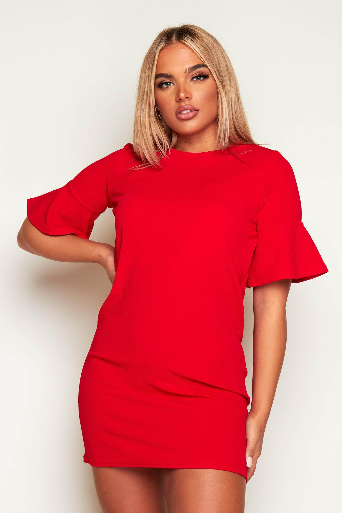 Red Oversize Crepe Dress