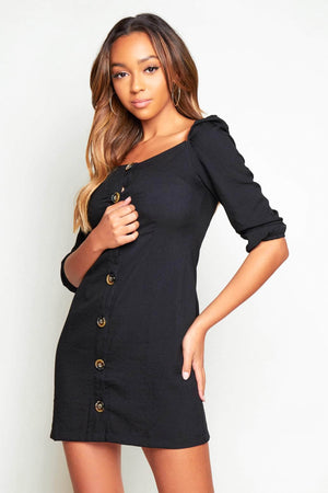 Black Buttoned Square Neck Midi Dress