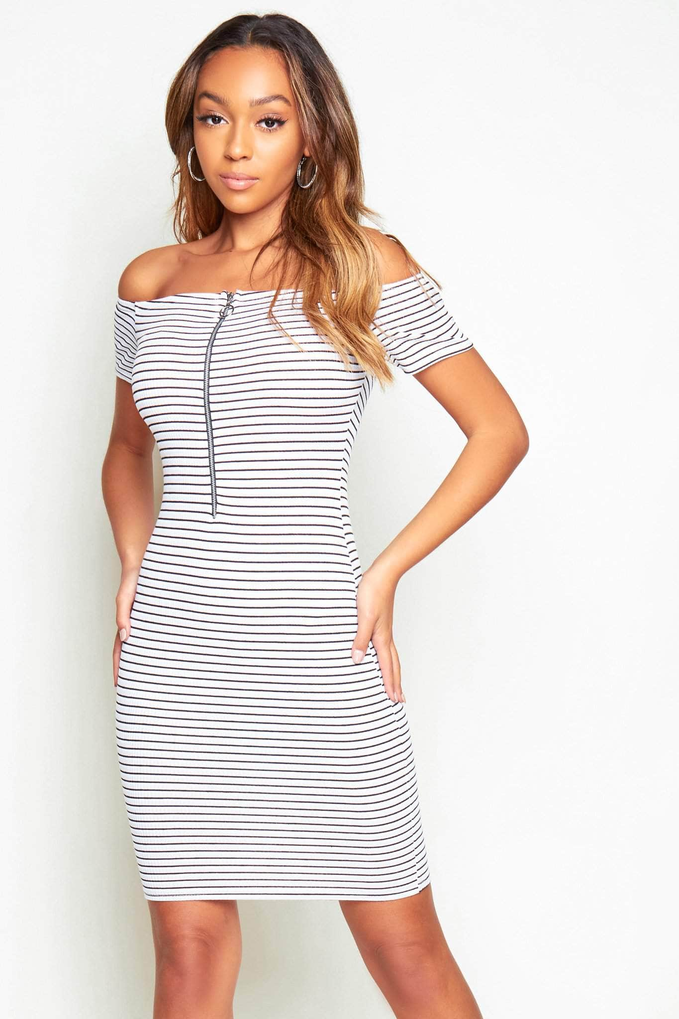 Multicoloured Stripe Bodycon Off The Shoulder Dress