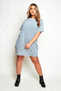 Grey Stripe Jersey T.Shirt Dress