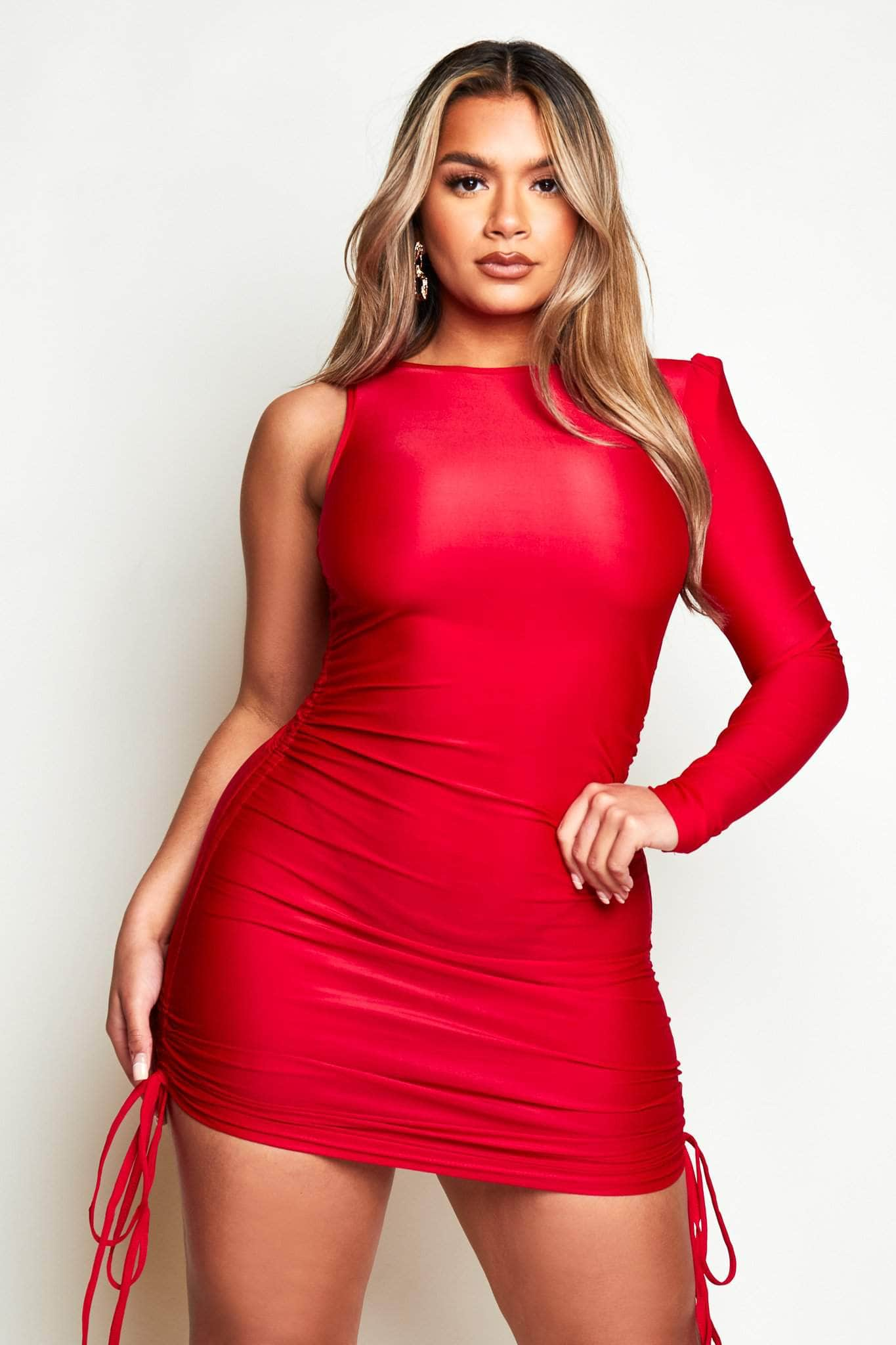 Red Slinky One Shoulder Padded Midi Ruched Dress