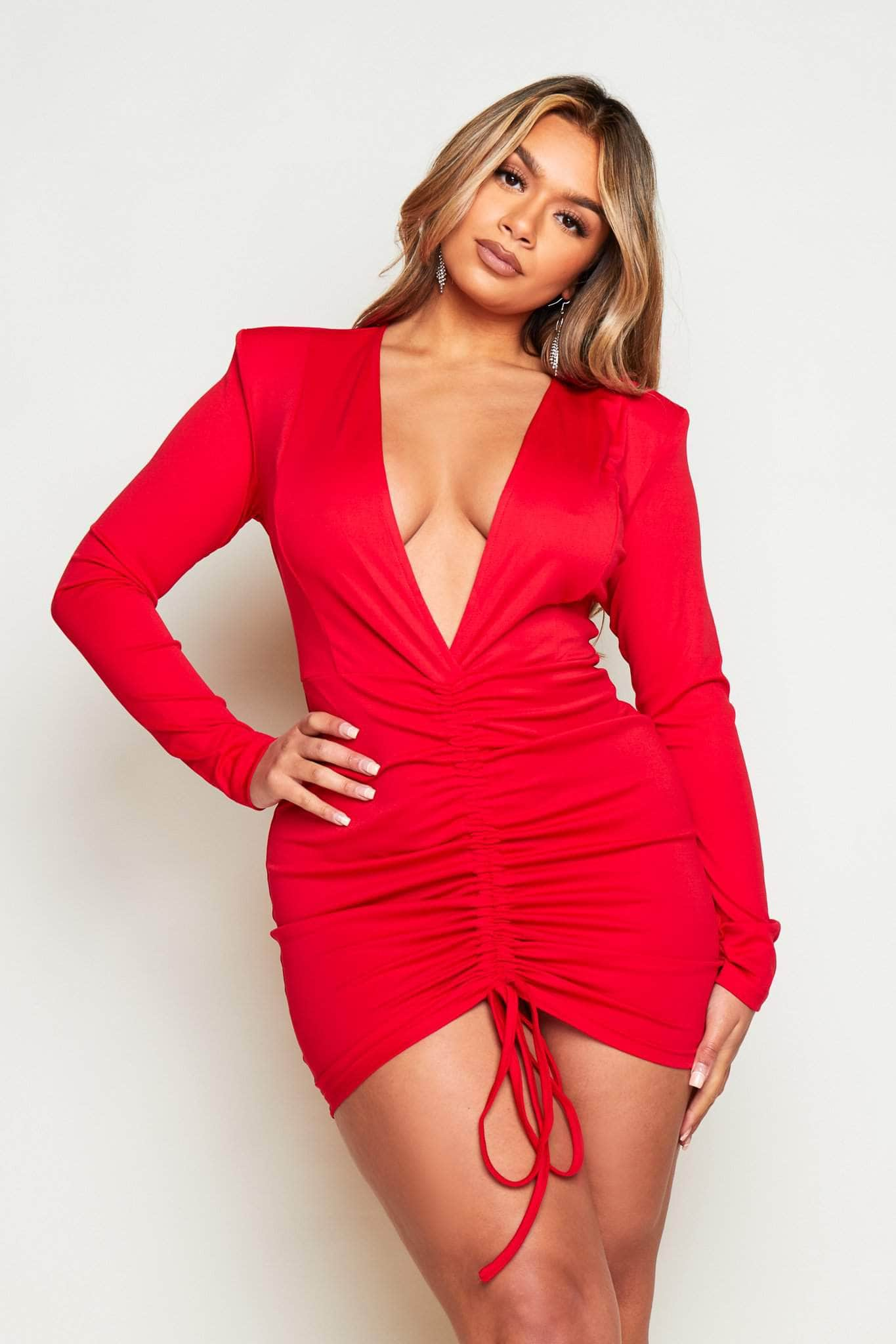 Red Extreme Plunge Shoulder Pad Mini Dress