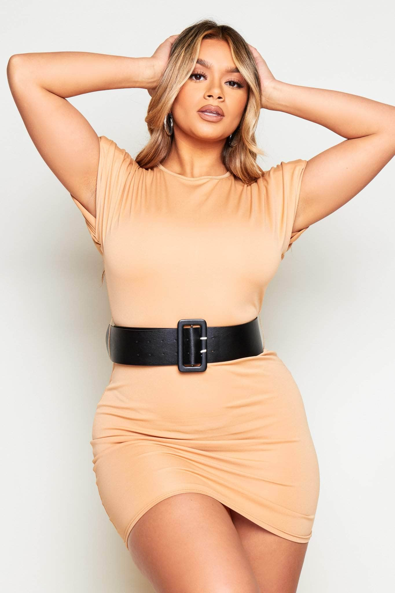 Beige Belted Shoulder Pad Jersey Dress