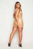 Beige Faux Leather Shoulder Pad Mini Belted Dress