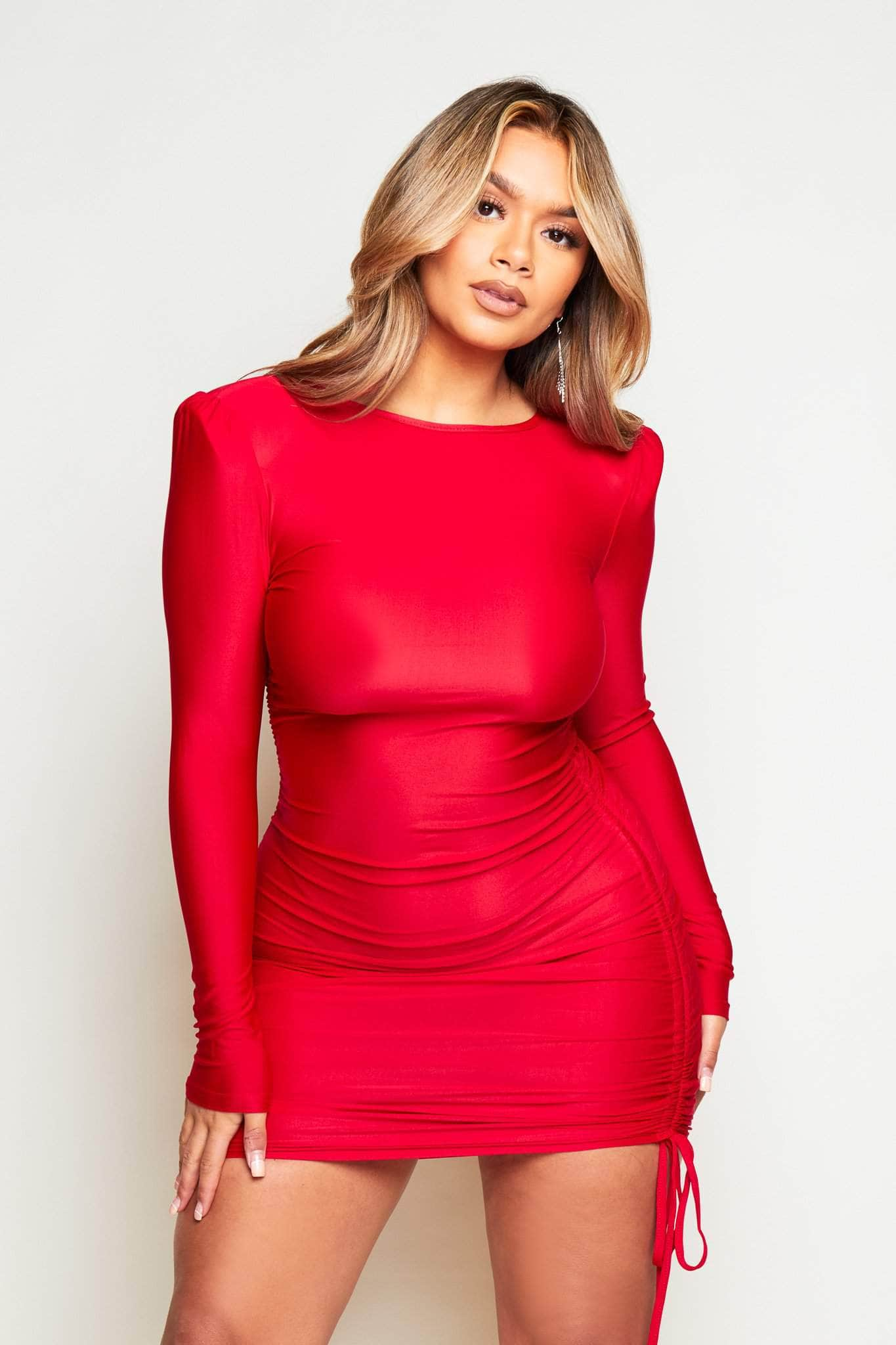 Wine Slinky Double Side Ruched Bodycon Dress