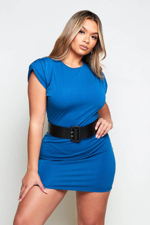 Blue Belted Shoulder Pad Jersey Dress