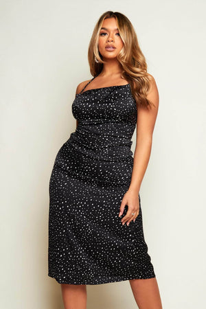Black Spotted Cowl Neck Satin Midi Dress