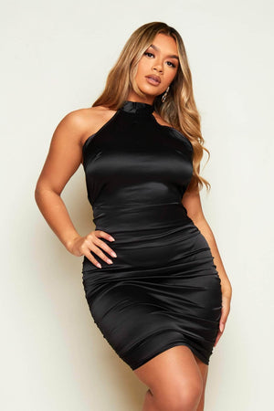 Black Satin Halter Neck Ruched Midi Dress