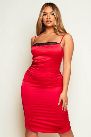 Red Satin Midi Slip Dress with Lace Cowl Neck