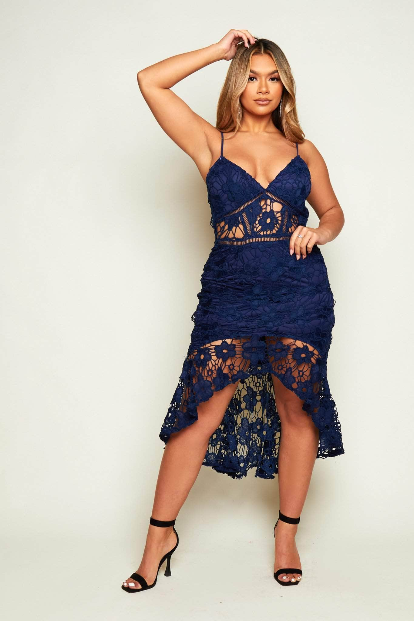 Navy Lace Frill Hem Midaxi Dress