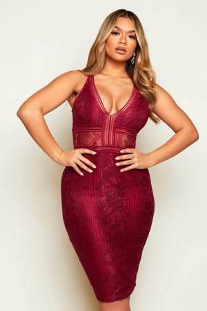 Plum Lace & Mesh Halter Midi Dress