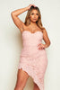 Pink Lace Bandeau Asymmetric Dress