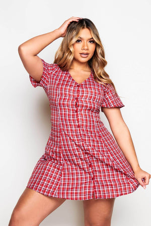 Red Checked Printed Smock Dress