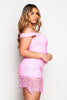 Pink Crochet Mini Sleeveless Ruffle Hem Dress