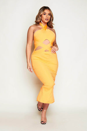 Orange Bandage Cut Out Midi Halter Neck Dress
