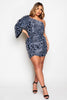 Grey Sheer Leopard One Shoulder Mini Dress