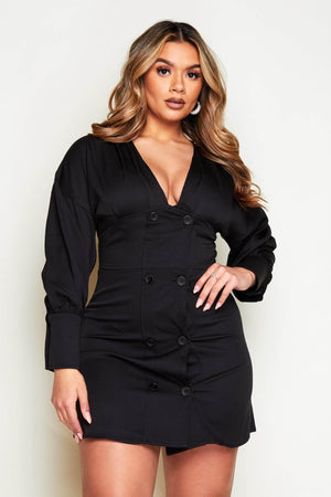 Black Buttoned Plunge Puff Sleeve Dress