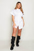White Fitted Waist Shirt Dress