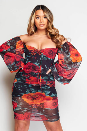 Black Floral Mesh Balloon Sleeve Mini Dress