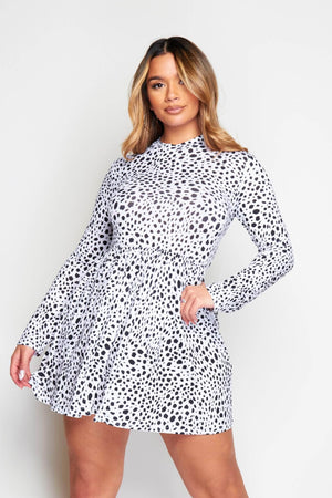 White Dalmatian Printed Smock Dress