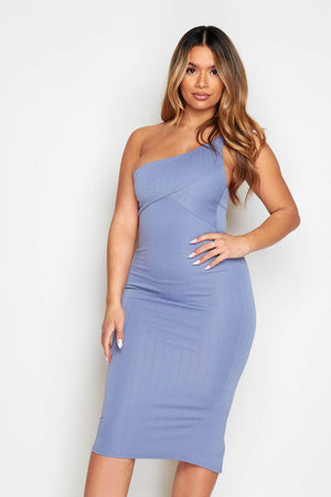 Dusty Blue Ribbed Bodycon Midi Dress