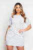 White & Black Stripe Ribbed Knot Front Dress