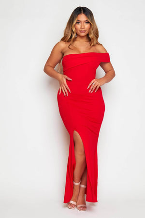 Red One Shoulder Maxi Dress
