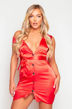 Red Satin Button Front Mini Dress