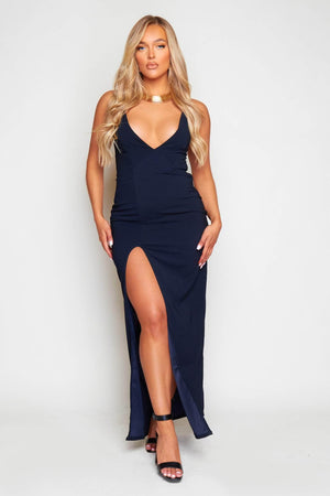 Navy Strappy Maxi Dress with Split Detail
