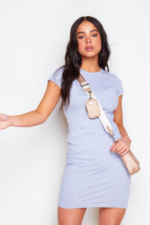 Grey Cup Detail Bodycon T-Shirt Dress
