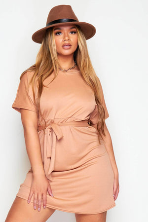 Maternity Camel Belted Midi Dress