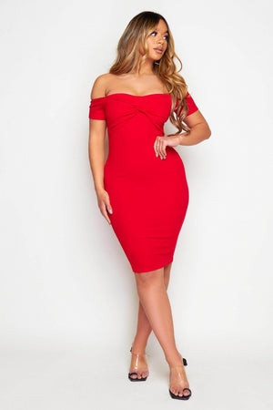 Red Off The Shoulder Front Knot Midi Dress