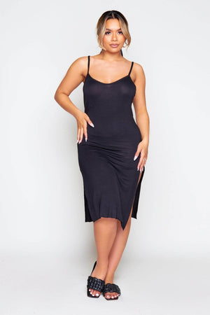 Black Strappy Split Hem Jersey Dress